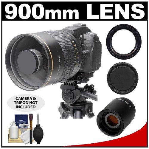 Polaroid 900Mm F/8 Mirror Lens & 2X Teleconverter (= 1800Mm) With Cleaning Kit For Nikon D3100, D3200, D5100, D7000, D700, D800, D4 Digital Slr Cameras