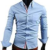 【 スマイズ スマイル 】 Smaids×Smile メンズ 長袖 Yシャツ スリム 襟 付き 柄 ドレス シャツ (ライトブルー XL)