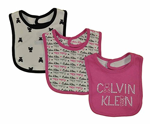 Calvin Klein Infant Girls Pink Rose Teddy Bear 3 Pack Bibs