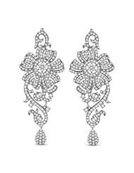 Ciemme 13.13 Ct Floral Cluster Dangle CZ Earrings 925 Sterling Silver