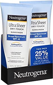 Neutrogena Ultra Sheer Sunscreen SPF 45 Twin Pack, 6 oz.