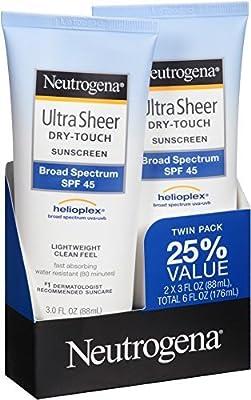 Neutrogena Ultra Sheer Sunscreen SPF 45 Twin Pack, 6 oz.