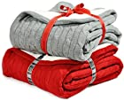 Cable Knit Sherpa Throw Cozy Reversible Lined Blanket, Gray or Red (Grey)