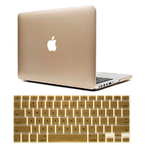 Macbook Pro 13 Case, Dealgadgets Frosted Matte Surface Crystal Hard Shell Case for MacBook Pro 13.3-inch A1278 Aluminum Unibody with Silicone Keyboard Cover Skin Stickers Protector Gold (NOT compatibl