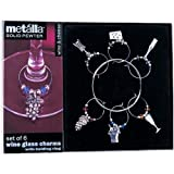 Metalla Solid Pewter Set of 6 Silver Finish Wine & Cheese Themed Wine Glass Charms with Holding Ringby Prodyne