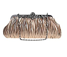 Pulama® - Womens Vintage Satin Pleated Envelope Evening Cocktail Wedding Party Handbag Clutch - Elf of Bolsas (17 Colors) (Coffee)