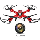Holy Stone HS200W FPV RC Drone with HD Wifi Camera Live Feed 2.4GHz 4CH 6-Axis Gyro Quadcopter with Altitude Hold, Gravity Sensor and Headless Mode RTF Helicopter, Color Red