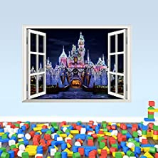 buy Emiracleze Christmas Gift Holiday Shopping Africa 3D Style False Window Castle Night Scene Removable Mural Wall Stickers Wall Decal For Living Room Home Decor