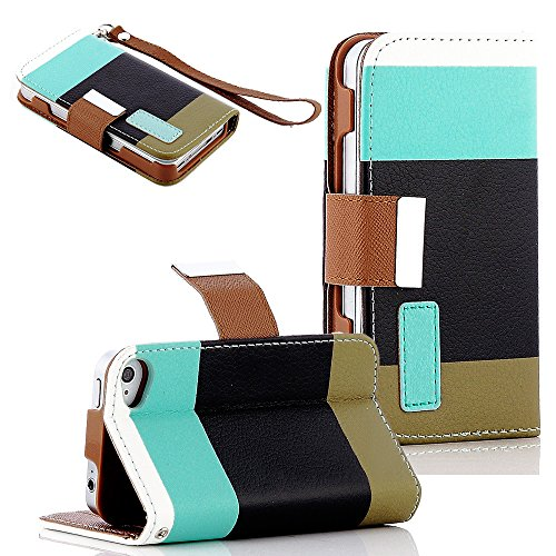 Mylife Deep Black And Sky Blue {Modern Design} Faux Leather (Card, Cash And Id Holder + Magnetic Closing + Hand Strap) Slim Wallet For The Iphone 5C Smartphone By Apple (External Textured Synthetic Leather With Magnetic Clip + Internal Secure Snap In Hard front-49197