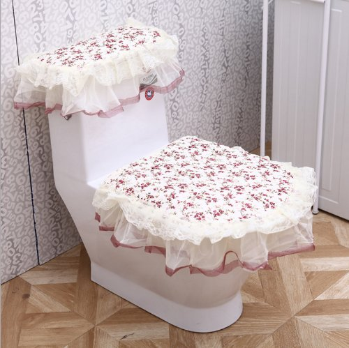 """Andget® 3 Set Cotton Toilet Seat Cover For Seat / Cover / Water Tank, In:7.9""""*11.4""""/Out:15.7""""*18.1"""" Pastorale Style"""