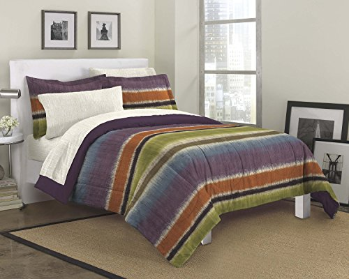 Dream Factory Texture Stripe Ultra Soft Microfiber Teen Bedding Comforter Set, Queen, Purple front-108819