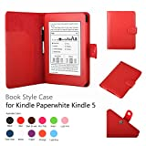 Micros2u PREMIUM RED Kindle 4th, Kindle Touch & Paperwhite Leather Case Folio Cover with Magnetic clasp for Amazon Kindle 6 inch models. Capacitive stylus with each case.