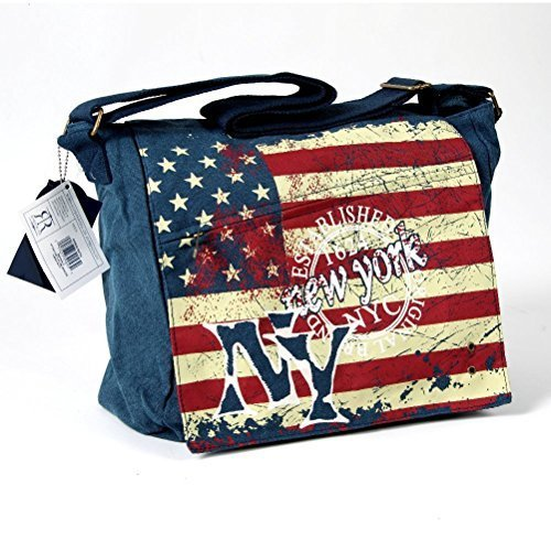 New York Canvas Shoulder Bag | American Flag | Canvas | Robin Ruth USA