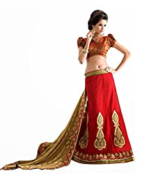 silvermoon women's net embroidered free size fancy saree-sm_NMGMA2107_red_free size