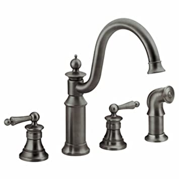 Moen S712ORB Waterhill Two-Handle High Arc Kitchen Faucet, Oil Rubbed Bronze