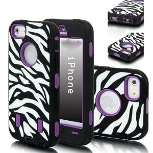 Jersey Bling® Zebra & PURPLE Defender Hard Back Protective Hybrid Iphone 4/4S Case/Cover