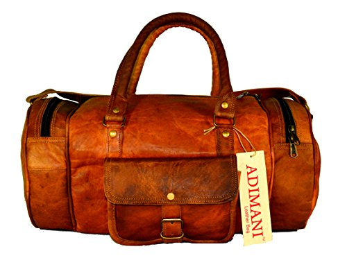 ADIMANI Vintage Fresh Leather Duffle Bag 22x10x10 Inches Overnight Bag Weekend Bag Leather Holdall Luggage Gym Sports Cabin Bag Leather Bag Brown
