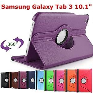 King Cameleon VIOLET pour Samsung Galaxy Tab 3 10.1 10'' P5200 / P5210 / P5220 avec 1 Stylet Offert- Housse Pochette Multi Angle ROTATIVE 360 - Nombreuses couleurs disponibles - Coque Etui en PU CUIR, rotation à 360°, Stand