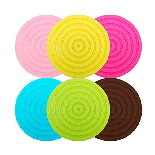 6PCS Multifunctional Anti-slip Cup Mat Hot Pad Coaster, Circle, Randomly