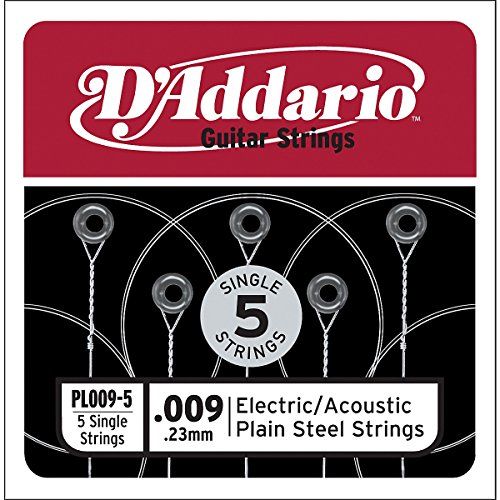 D'Addario PL009-5 Plain Steel Guitar Single String, .009, 5-pack (Single Electric Guitar Strings compare prices)