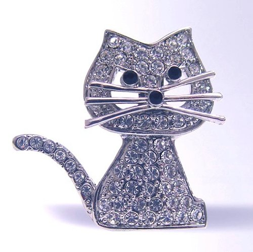 Kitty Cat Pin Brooch Swarovski Crystals Kitten Jewelry White Black Art Deco G...