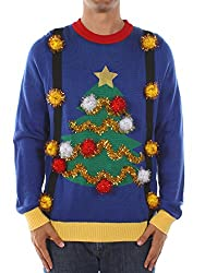 Men's Tacky Christmas Sweater - Christmas Tree Sweater with Suspenders by Tipsy Elves Size L