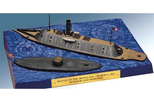 Lindberg 1/210 scale Monitor and 1/300 scale Merrimack ships