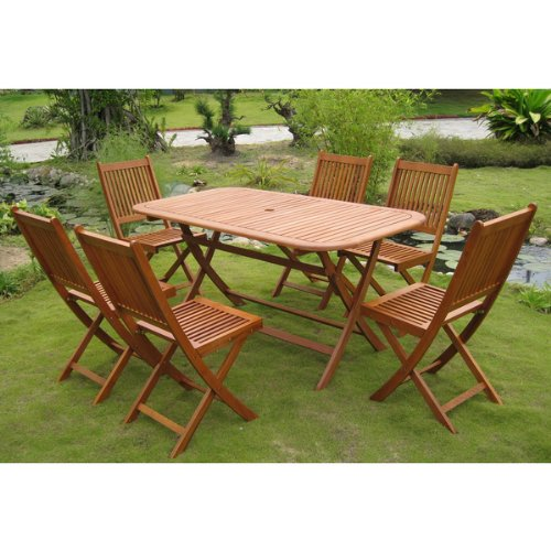 Royal Tahiti Galende 7-Piece Folding Outdoor Dining Set