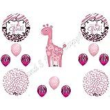 IT'S A GIRL Giraffe Zebra Cheetah Baby Shower Balloons Decoration Supplies Pink