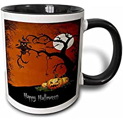 3dRose Halloween Night with Haunted Tree and Pumpkins Two Tone Black Mug, 11 oz, Black/White