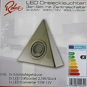 Hochwertiges 3er Set LED Dreieckleuchte- Küchenleuchte -2,5W WARMWEISS mit Zentralschalter by ROLUX