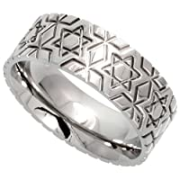 Stainless Steel 5/16 in. (8 mm) Comfort Fit Star Of David Band (Available in Sizes 6 to 14), size 9.5