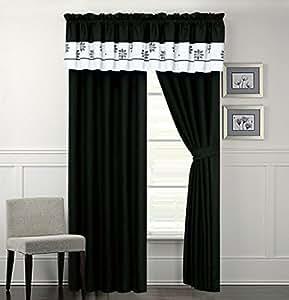 tamara black and white curtain set home kitchen