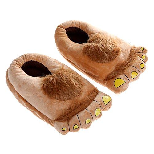 Big Hairy Unisex Savage Monster Hobbit Feet Plush Home Slippers Halloween