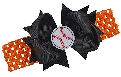 baseball-team-fan-bow-and-crochet-headband-fits-newborn-to-toddlers-funny-girl-designs-orange-band-b