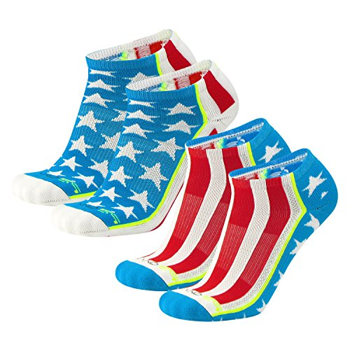 Brand 59 Stars and Stripes Low Cut Golf Socks (Red/White/Electric Blue