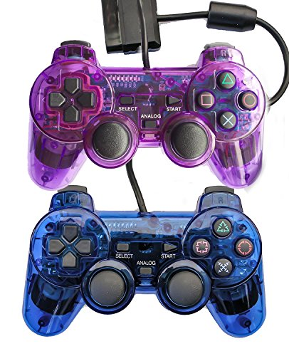 Bowink 2 Packs Wired Gaming Controllers for Ps2 Double Shock - Blue + Purple (Locks Quest Ds compare prices)