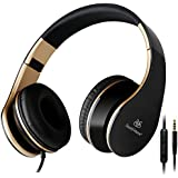 Sound Intone I65 Stereo Lightweight Foldable Headphones Adjustable Headband Headsets with Microphone for Christmas Gifts Cellphones Smartphones Iphone Laptop Computer Mp3/4 (Black/gold)