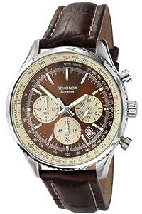 Sekonda Chronograph Brown & Cream Dial Brown Leather Strap Gents Watch 3407
