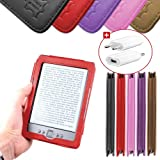 DURAGADGET Housse Etui Rouge en Cuir Vritable pour Kindle 4 : liseuse sans fil, Wi-Fi intgr, cran 6 pouces (15cm), affichage encre lectronique E-Ink (dernire / nouvelle gnration, septembre 2011) - format livre + Chargeur Secteur Bonuspar Duragadget