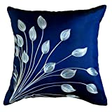 "That's Perfect! Lotus Leaves 18""x18"" Decorative Silk Throw Pillow Sham - COVER (Dark Blue)"