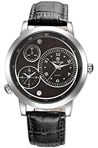Skone Mens Business Casual Luxury Modern Black Leather Quartz Watches