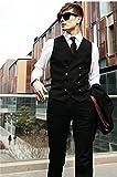 メンズ ベスト ダブル ボタン 黒 灰 シンプル ビジネス スーツ (M)