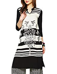 KASHANA Viscose Animal Printed Black Cream Kurti For Women Girls Ladies