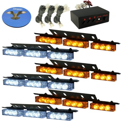 Hqrp White / Amber 54 Leds 6 Panels Deck Dash Grill Windshield Emergency Hazard Warning Truck Snow Plow Safety Strobe Lights Plus Hqrp Coaster