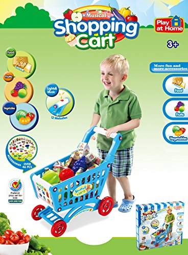 PowerTRC-Mini-Shopping-Cart-with-Full-Grocery-Food-Playset-Toy-for-Kids-Blue