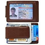 Money Clip, Front Pocket Wallet, Leather RFID Blocking Strong Magnet thin Wallet (OneSize, Coffee)