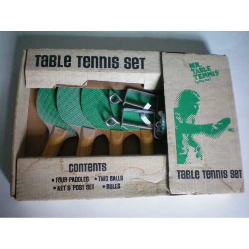 Mr. Table Tennis Set    [Ping Pong ] 4 Paddles, 2 Balls, Net and Post Set, Rules    NEW OLD STOCK