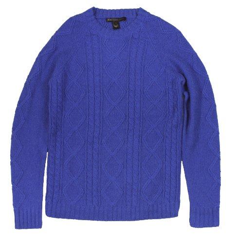 Marc JacobsMarc Jacobs Men's Aran Alpaca Silk Cableknit Sweater (Rich Royal Blue) (X-Large)