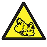 Mario Yoshi Warning Sticker - 10cm x 9cm Retro Style Video Arcade Game Decal